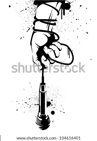 A hand holding a microphone with the lead wrapped around the wrist. - stock vector