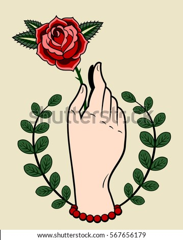 Hand holding rose stock images royalty free images for Hand holding a rose drawing