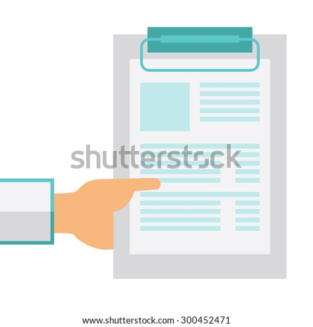 A hand holding clipboard with blank sheet of paper. A Contemporary style. Vector flat design illustration isolated white background. Square layout - stock vector