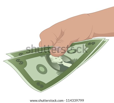 A Hand Holding 2 Dollar Bills - stock vector