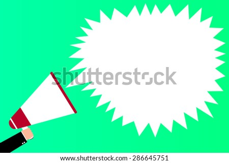 A hand holding megaphone, with speech bubble announcement, vector illustration - stock vector