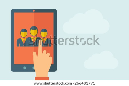 a hand is touching the screen of a tablet with human. A contemporary style with pastel palette, light blue cloudy sky background. Vector flat design illustration. Horizontal layout with text space on - stock vector