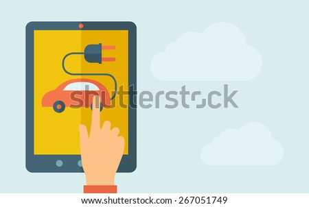 A hand is touching the screen of a tablet with rechargeable car icon. A contemporary style with pastel palette, light blue cloudy sky background. Vector flat design illustration. Horizontal layout - stock vector