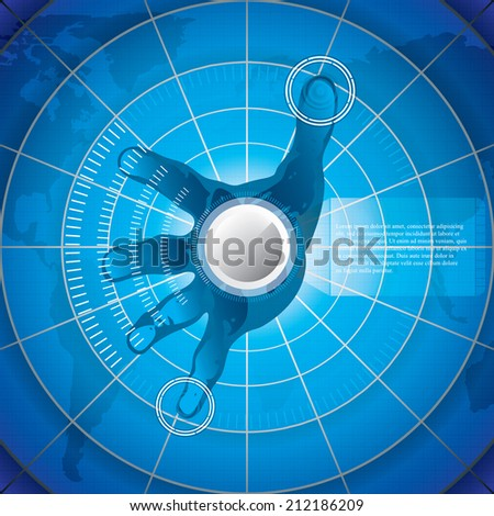 A hand over a hi-tech screen.A future technology - stock vector