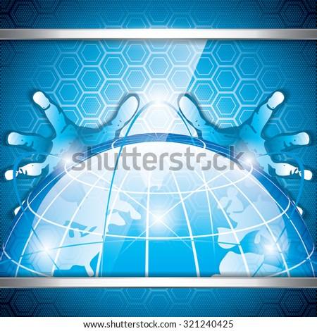 A hand over a hi-tech screen.A future technology - stock vector