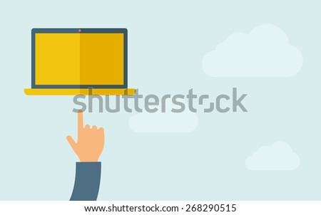 A hand pointing to blank screen of laptop. A contemporary style with pastel palette, light blue cloudy sky background. Vector flat design illustration. Horizontal layout with text space on right part. - stock vector
