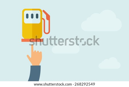 A hand pointing to gasoline pump. A contemporary style with pastel palette, light blue cloudy sky background. Vector flat design illustration. Horizontal layout with text space on right part. - stock vector