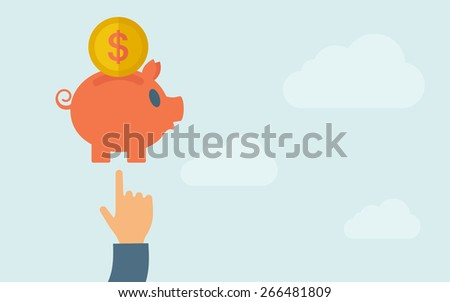 A hand pointing to piggy bank with dollar coin.  A contemporary style with pastel palette, light blue cloudy sky background. Vector flat design illustration. Horizontal layout with text space on right - stock vector