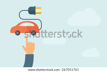 A hand pointing to rechargeable car icon.  A contemporary style with pastel palette, light blue cloudy sky background. Vector flat design illustration. Horizontal layout with text space on right part. - stock vector
