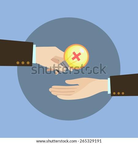 A hand, send a idea symbols, positive thinking, vector illustration,  - stock vector