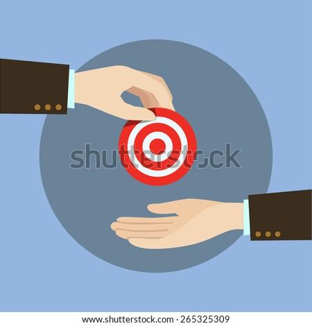 A hand, send a target symbols - stock vector