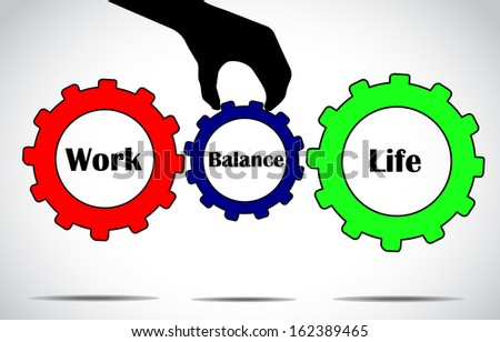 a hand silhouette placing balance gear in between work and life gears with bright glowing white background- work life balance concept illustration vector design art  - stock vector