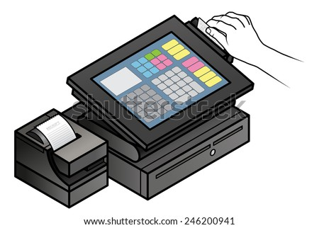 A hand swiping a credit card in a slim profile touchscreen point of sale terminal with a card reader, receipt printer, and cash drawer.  - stock vector