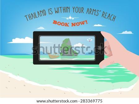 A Hand Takes a Photo of Thailand's Phuket Beach scenery. Technology EPS10 Clip Art illustration. - stock vector