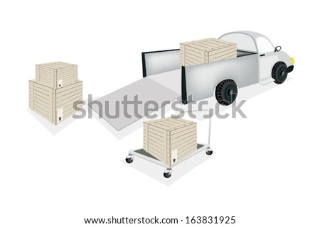 A Hand Truck or Dolly Loading Wooden Crate or Cargo Box into A Pickup, Ready for Shipping or Delivery.  - stock vector