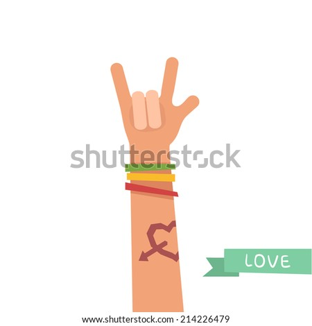 A hand up showing Love sign. A hand with Love tattoo and colorful friendship bracelets. Colorful vector illustration in flat style isolated on white  - stock vector