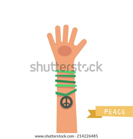 A hand up showing Peace sign. A hand with Peace icon and colorful friendship bracelets. Colorful vector illustration in flat style isolated on white  - stock vector