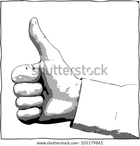 A hand with a thumb up gesture - vector monochrome illustration - stock vector