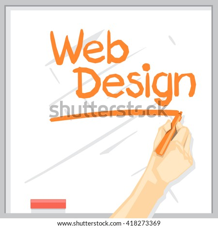 A hand with shadow drawing on a white table with orange color marker, web design inscription with underline, digital vector image
