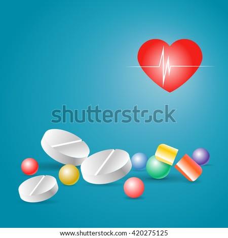 a handful of pills - stock vector