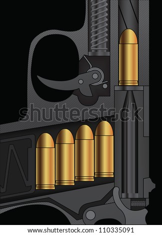 A handgun sectional drawing with bullets loaded. Vector illustration. - stock vector