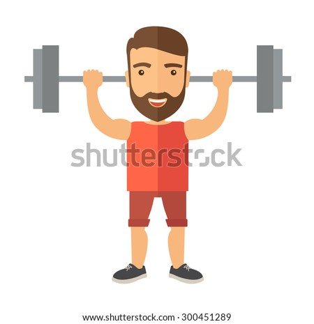 A handsome caucasian man lifting a barbell with fitness attire inside the gym. A Contemporary style. Vector flat design illustration isolated white background. Square layout - stock vector