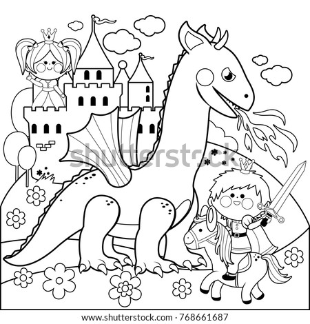handsome prince fighting fire breathing dragon stock vector
