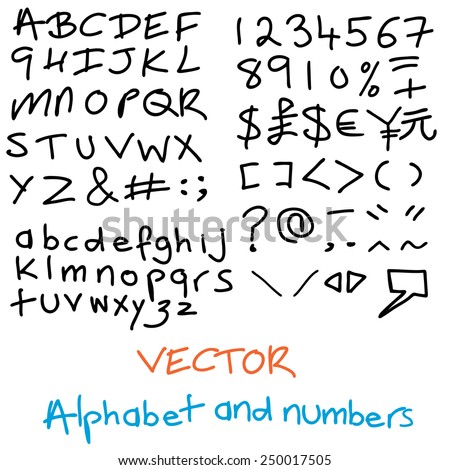 A  handwritten alphabet with numbers, upper and lower case characters and symbols - stock vector