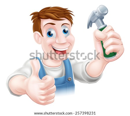 A handyman or carpenter holding a hammer and doing a thumbs up - stock vector