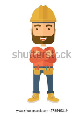A happy and confident worker standing with crossed arms. . A Contemporary style. Vector flat design illustration isolated white background. Vertical layout. - stock vector