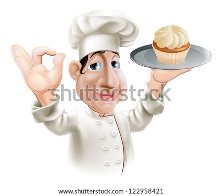 A happy baker smiling with a cake on a tray doing an okay gesture - stock vector