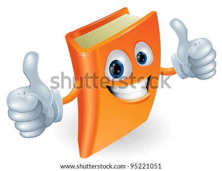 A happy book cartoon character mascot illustration giving a double thumbs up - stock vector