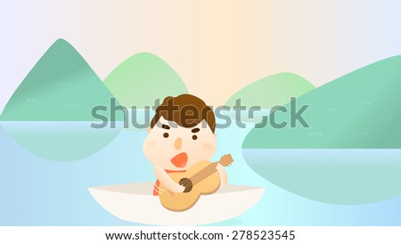 A happy boy kid cartoon character playing guitar on a boat in the middle of a pond, lake, or river. Illustration of mountain nature scene. Summer vacation outdoor activity. Play hard and enjoy life. - stock vector