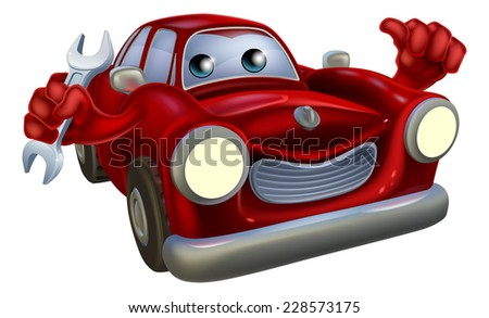 A happy cartoon car holding a spanner and doing a thumbs up  - stock vector