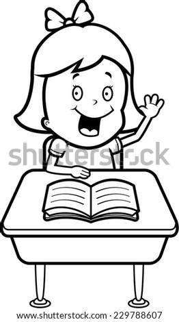 Happy Cartoon Child Student Desk School Stock Vector 229788607