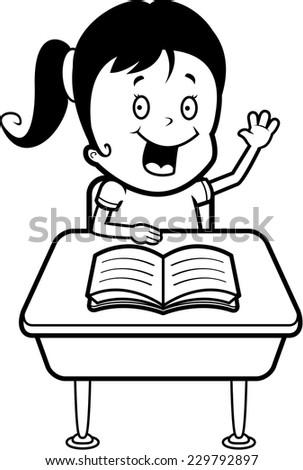 Happy Cartoon Child Student Desk School Stock Vector 229792897