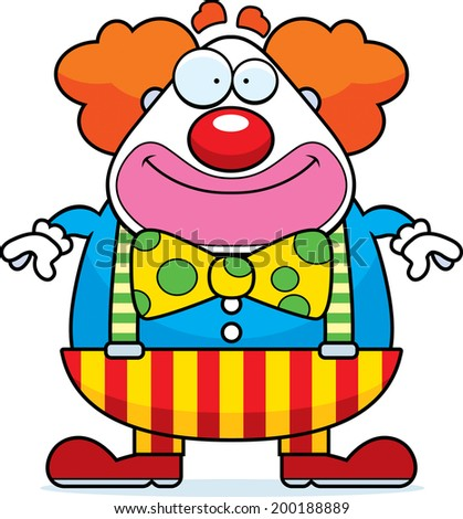 A happy cartoon clown standing and smiling. - stock vector