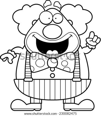 A happy cartoon clown with an idea. - stock vector