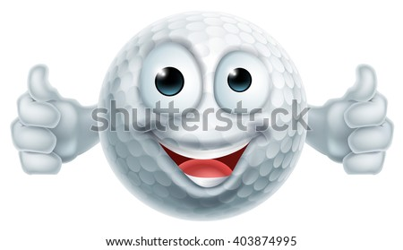 A happy cartoon golf ball man mascot character doing a double thumbs up - stock vector