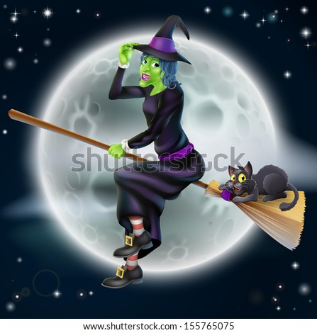 A happy cartoon Halloween witch flying on her broom stick with her black cat and a full moon in the background - stock vector