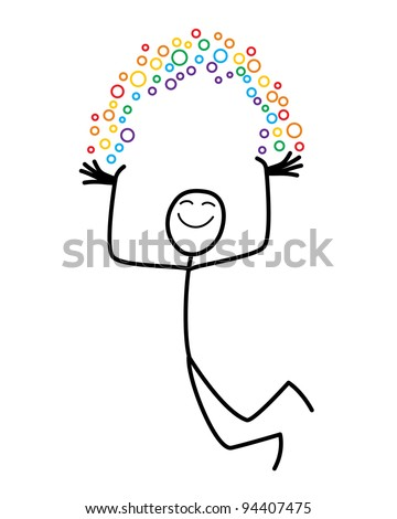 A happy cartoon man holds his own rainbow - stock vector