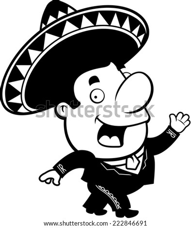 A happy cartoon mariachi walking and smiling.