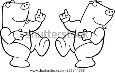 A happy cartoon mole dancing and smiling. - stock vector