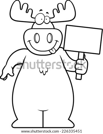 A happy cartoon moose with a sign. - stock vector
