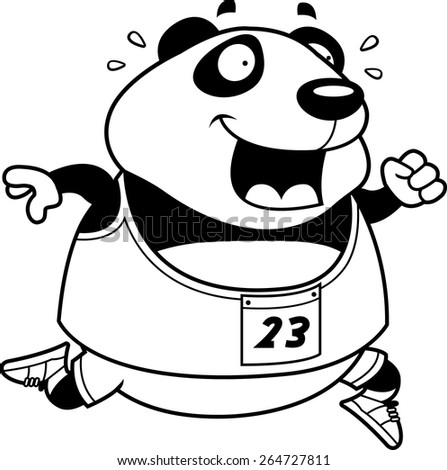 A happy cartoon panda running in a race. - stock vector