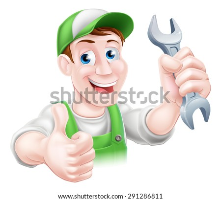 A happy cartoon plumber or mechanic man holding a spanner or wrench and giving a thumbs up - stock vector