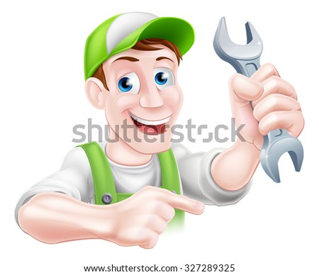 A happy cartoon plumber or mechanic man holding a spanner or wrench and pointing - stock vector