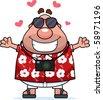 A happy cartoon tourist ready to give a hug. - stock vector