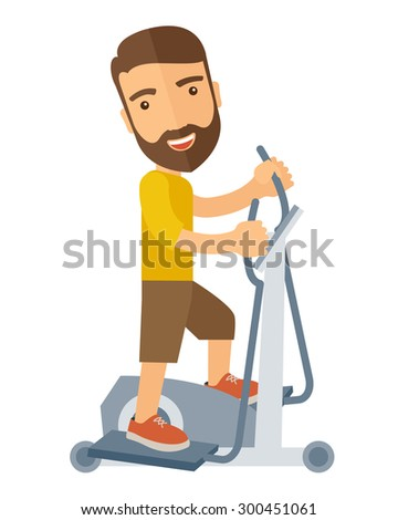A happy caucasian in gym sport workout exercises. A Contemporary style. Vector flat design illustration isolated white background. Vertical layout. - stock vector