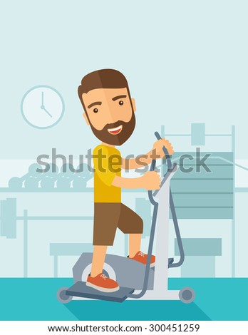 A happy caucasian in gym sport workout exercises. Contemporary style with pastel palette, soft blue tinted background. Vector flat design illustrations. Vertical layout with text space on top part. - stock vector